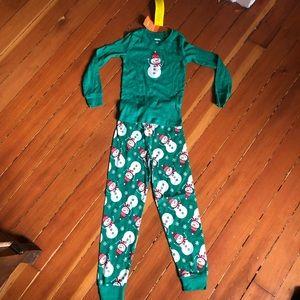 Gymboree Green Snowman Winter/Christmas Pajamas 6